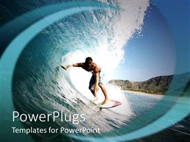 PowerPoint template displaying surfer riding a wave, blue sky, mountains