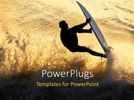 PowerPoint template displaying a surfer showing his skills in a sea