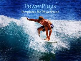 PowerPoint template displaying a surfer showing his skills in the sea