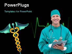 PowerPlugs: PowerPoint template with a surgeon with a heartbeat line in the background