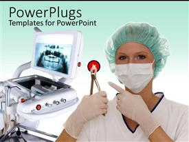 PowerPlugs: PowerPoint template with a surgeon holding surgical equipment and machinery in the background
