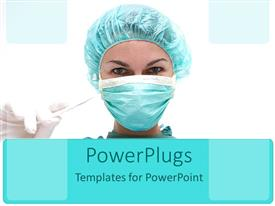 PowerPlugs: PowerPoint template with a surgeon with a mask and glove in the hand ready for a surgery