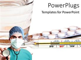 PowerPlugs: PowerPoint template with a surgeon with a number of medicines in the background