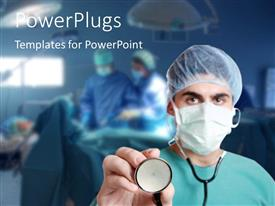 PowerPlugs: PowerPoint template with a surgeon with a stethoscope and an operation going on in the background