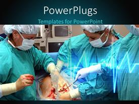 PowerPlugs: PowerPoint template with some surgeons in a theater performing an operation on a patient