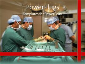 PowerPlugs: PowerPoint template with some surgeons in a theatre performing an operation on a patient