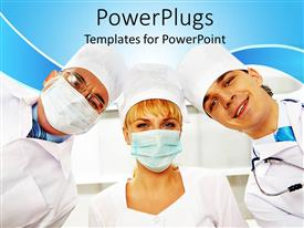 PowerPoint template displaying surgical team looking at camera in medical scrubs, health care, surgery, doctor, nurse, surgeon, medicine