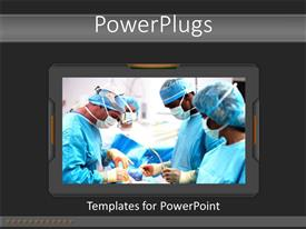 PowerPoint template displaying surgical team performing operation in medical scrubs, hospital, medicine, health care