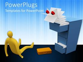 PowerPlugs: PowerPoint template with surprised yellow figure sitting on floor next to dropped briefcase looking at paper monster emerging from file cabinet