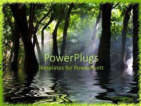 PowerPoint template displaying swamp marsh trees dark water fog sun shining through