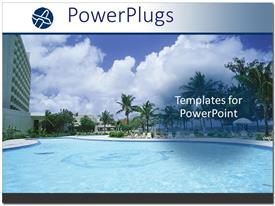 PowerPlugs: PowerPoint template with swimming pool and palm trees at tropical resort
