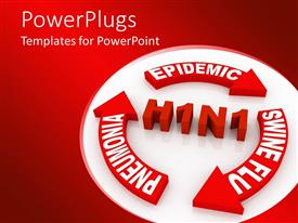 PowerPoint template displaying swine flu infection graphic with H1N1 and epidemic, wine flu, pneumonia arrows