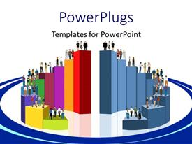 PowerPlugs: PowerPoint template with swirling colored 3D bars with people standing on bars
