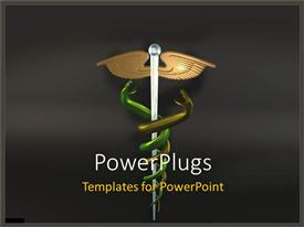 PowerPlugs: PowerPoint template with symbol of Caduceus with two hanging green snakes on black background