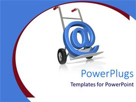 PowerPoint template displaying @ symbol on delivery trolley, email delivery trolley on white background