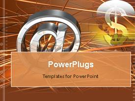 PowerPoint template displaying the symbol @ with a dollar sign in the background