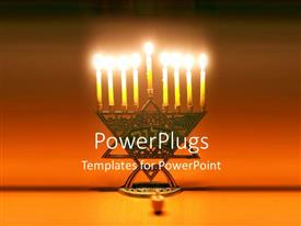 PowerPlugs: PowerPoint template with symbol of Jewish holiday Hanukkah with lighted candles on bronze stand
