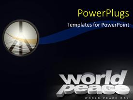 PowerPoint template displaying symbol of peace with keywords in 3D placed on black color