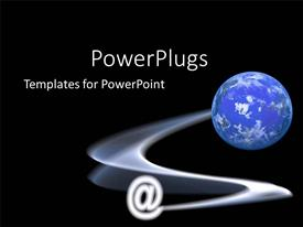 PowerPoint template displaying @ symbol stretched from a globe with black background