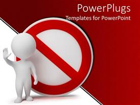 PowerPlugs: PowerPoint template with no symbol with white human waving, red and white background