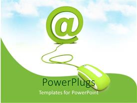 PowerPoint template displaying an @ symbol and a wired mouse attached to it