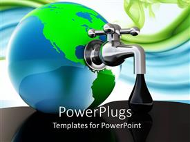 PowerPoint template displaying symbolism faucet taking oil out of the earth