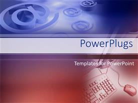 PowerPoint template displaying at symbols in blue with red keyboard, mouse and desktop computer, email, social media