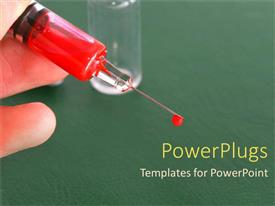 PowerPlugs: PowerPoint template with syringe with needle and red fluid, medicine, medical, vaccine, injection