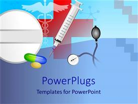 PowerPlugs: PowerPoint template with syringe, stethoscope, pills, medicine, doctor, medical, health