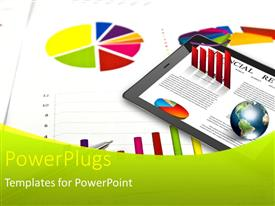 PowerPlugs: PowerPoint template with a tab with financial stuff and a pie chart in the background