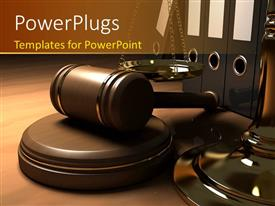 PowerPoint template displaying a table with law gavel, balance and law books