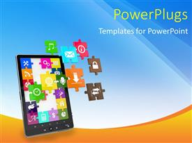 PowerPoint template displaying table screen made with jigsaw puzzle pieces with app icons