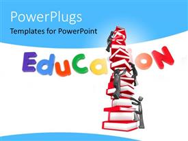 PowerPlugs: PowerPoint template with a tack of books with 3D human characters climbing them