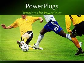 PowerPlugs: PowerPoint template with tackle by defensive soccer player on football pitch