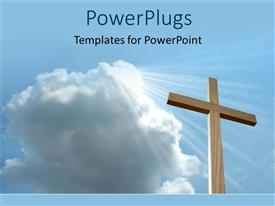 PowerPlugs: PowerPoint template with a tall big wooden cross under a white cloud