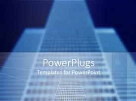 PowerPoint template displaying tall buildings in front of a plain deep blue background