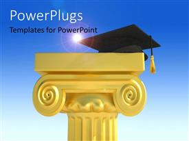 PowerPlugs: PowerPoint template with a tall cream colored podium with a graduation cap