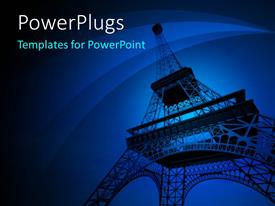 PowerPoint template displaying a tall Effiel Tower on a dark blue background