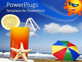 PowerPlugs: PowerPoint template with tall glass of juice with a slice or orange