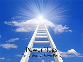 PowerPlugs: PowerPoint template with a tall ladder which reaches the clear blue sky