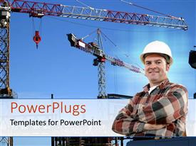 PowerPoint template displaying a tall steel crane working on a construction site