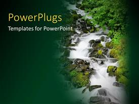 PowerPlugs: PowerPoint template with a tall waterfall with water rushing down with high currents
