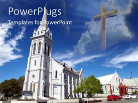 PowerPlugs: PowerPoint template with tall white church building with cross in the sky