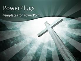 PowerPoint template displaying tall wooden cross over light glow in cloudy sky