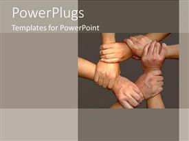 PowerPlugs: PowerPoint template with tan hands come together for team on grey background as a metaphor