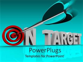 PowerPlugs: PowerPoint template with on target 3D words with red target instead of o letter and dart pointing bullseye