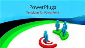 PowerPoint template displaying three people standing opposite another single target 3D character