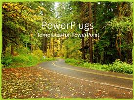 PowerPlugs: PowerPoint template with tarred curvy road through colorful forest in autumn