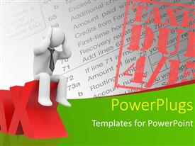 PowerPlugs: PowerPoint template with 3D man sits on 3D TAX with TAXES DUE stamp on document