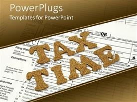 PowerPlugs: PowerPoint template with tax time written in all capitals on a tax form